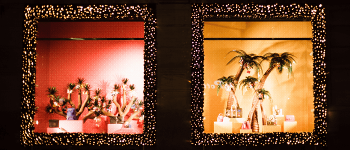 Use creative window displays to show customers what you have to offer